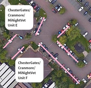 Plan of the car park at ChesterGates Veterinary Specialists